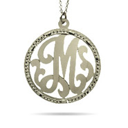 Sterling Silver Medium Round Single Initial Custom Monogram Pendant