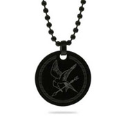 Hunger Games Inspired Black Tag Mockingjay Pendant