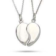 Engravable Couples Split Heart Sterling Silver Pendant