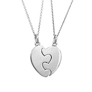 Engravable Best Friends Split Puzzle Heart Pendant