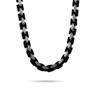 Men's Steel and Black Heavy Oval Linked Chain