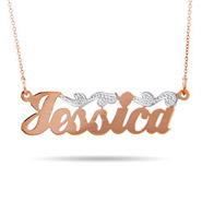 Rose Gold Vermeil Scroll Design Nameplate Necklace