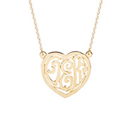 Gold Vermeil Custom Monogram Heart Necklace