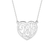 Sterling Silver Custom Monogram Heart Necklace