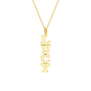 Gold Vermeil Custom Vertical Nameplate Necklace