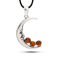 Man In the Moon Sterling Silver Baltic Amber Pendant
