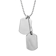 Small Stainless Steel Double Dog Tag Necklace