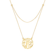 Gold Vermeil Double Strand Custom Monogram Necklace