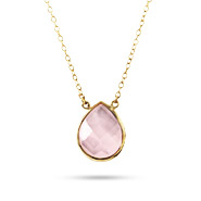 Gold Vermeil Genuine Rose Quartz Teardrop Necklace