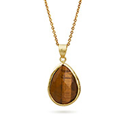 Gold Vermeil Tigers Eye Gemstone Teardrop Pendant