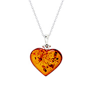 Sterling Silver Baltic Amber Heart Pendant