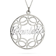 Sterling Silver Filigree Custom Name Circle Pendant