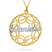 Gold Vermeil Filigree Custom Name Circle Pendant