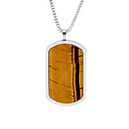 Designer Inspired Engravable Tigers Eye Dog Tag