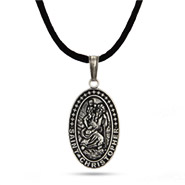 Sterling Silver Oxidized St. Christopher Medallion Pendant