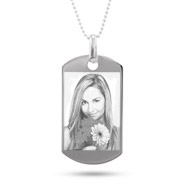 Large Sterling Silver Dog Tag Photo Pendant