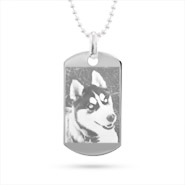 Small Sterling Silver Dog Tag Photo Pendant