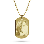 18K Gold Plated Medium Dog Tag Photo Pendant