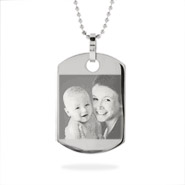 Small Stainless Steel Dog Tag Photo Pendant