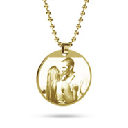 18K Gold Plated Medium Round Tag Photo Pendant