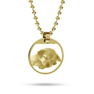 18K Gold Plated Small Round Tag Photo Pendant