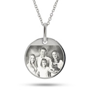 Small Sterling Silver Round Tag Photo Pendant