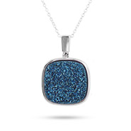 Sterling Silver Cushion Cut Blue Drusy Necklace