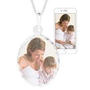 Oval Sterling Silver Diamond Cut Photo Pendant