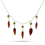 Honey Amber Multi Drop Necklace with Green Swarovski Crystals