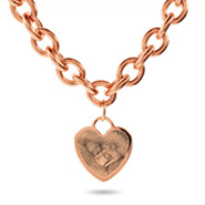Rose Gold Heart Tag Photo Necklace