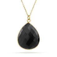 Gold Vermeil Pearcut Genuine Black Onyx Pendant