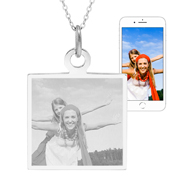 Sterling Silver Square Tag Photo Pendant