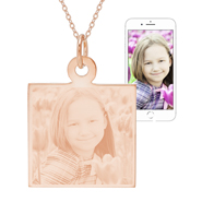 Rose Gold Vermeil Square Tag Photo Pendant