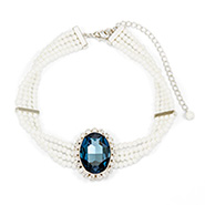 Authentic Royal Regalia Princess Diana Sapphire Swarovski Crystal Pearl Choker