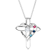 3 Stone Heart with Cross Sterling Silver Birthstone Pendant