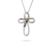 4 Stone Sterling Silver Infinity Cross with Austrian Crystal Birthstones