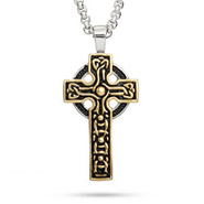 Engravable Gold Tone Celtic Cross Pendant