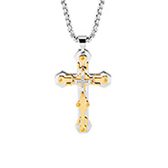 Mens Gold and Steel Engravable Cross Pendant