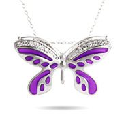 Sterling Silver Lavender Cubic Zirconia Butterfly Necklace