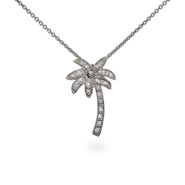 Tiffany Style Sterling Silver CZ Palm Tree Necklace