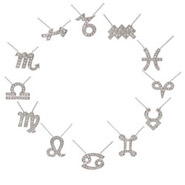 Sterling Silver & CZ Zodiac Necklaces