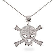 Sterling Silver Skull and Crossbones CZ Pendant