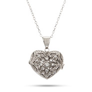 Sterling Silver CZ Heart Locket Necklace