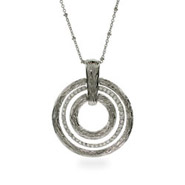 Designer Inspired Triple Silver and CZ Circle Necklace