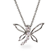 Sterling Silver CZ Journey Dragonfly Pendant