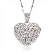Deco Style Single Stone Heart Shaped CZ Silver Locket