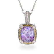 Designer Inspired Brilliant Cushion Cut Lavender CZ Pendant