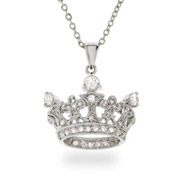 Elegant Sterling Silver CZ Crown Pendant
