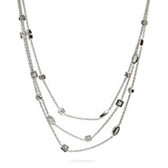 Tiffany Inspired Three Strand Layered CZ Sway Necklace
