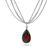 Extraordinary Multi-Strand Silver Garnet Drop Necklace
